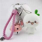 可愛汽車小飾品鑰匙扣女創意情侶卡通鑰匙鏈包包鈴鐺掛件禮物