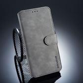 三星 A8 Plus 2018 復古皮套 翻蓋手機殼 磁扣錢包款皮套 插卡防摔保護套 支架保護殼 附掛繩 A8 2018