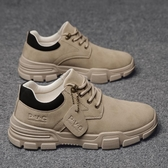 男士皮鞋休閒厚底防滑防水耐磨低幫皮面馬丁靴工裝男鞋戶外工作鞋