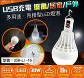 【尋寶趣】aibo USB充電式 LED吊掛式二段光燈泡 (白光) 360度照明廣 擺攤/居家/戶外 USB-LI-16