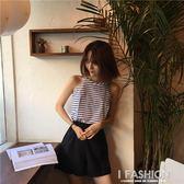 2018夏裝新款韓版寬鬆顯瘦打底條紋背心短款吊帶女外穿學生上衣潮·Ifashion