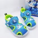 【樂樂童鞋】台灣製POLI安寶電燈涼鞋-藍色 P053-1 - 女童鞋 男童鞋 涼鞋 大童鞋 兒童涼鞋 大童涼鞋