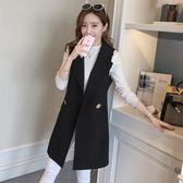 西裝馬甲 女2018春款韓版時尚修身中長款西服外套 GY890『毛菇小象』