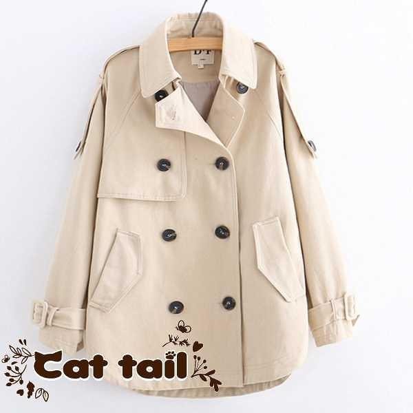 《貓尾巴》TS-01908 日系雙排扣氣質款風衣外套(森林系 日系 棉麻 文青 清新)