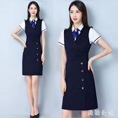 OL套裝大碼 女夏短袖白襯衫兩件套馬甲連身裙氣質修身顯瘦工作服套裙 JA6057『美鞋公社』