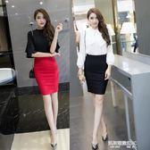 職業裙後開叉包臀裙半身裙女高腰彈力黑色工裝短裙子OL一步職業包裙  凱斯盾數位3C
