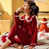 睡衣女春秋季純棉長袖公主風兩件套裝秋冬天大碼本命年紅色家居服『潮流世家』