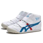 ASICS ONITSUKATIGER 白藍紅 中筒 皮革 黏帶 休閒鞋 中童(布魯克林) 1184A002100