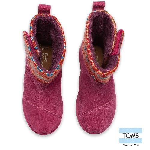 TOMS 圖騰針織拼接雪靴-孩童款(10003266   PINK)