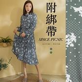 洋裝 Space Picnic 點點花領口綁帶百摺洋裝-附綁帶(現貨)【C20081032】