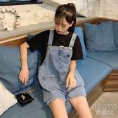 牛仔背帶褲女韓版寬鬆短褲2020新款潮破洞顯瘦直筒高腰鹽繫褲子夏 京都3C