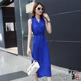 無袖洋裝大尺碼韓國中長款連身裙女大尺碼顯瘦雪紡長裙修身氣質天沙灘裙
