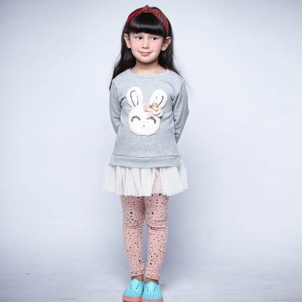 Mini Jule女童 內搭褲 滿版星星月亮印花彈性內搭長褲(共2色) Azio Kids 美國派 童裝
