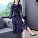 高檔碎花雪紡洋裝女長袖長款2021春夏新款收腰顯瘦減齡氣質長 快速出貨