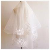 韓式簡約短款蕾絲花多層新娘婚紗遮面