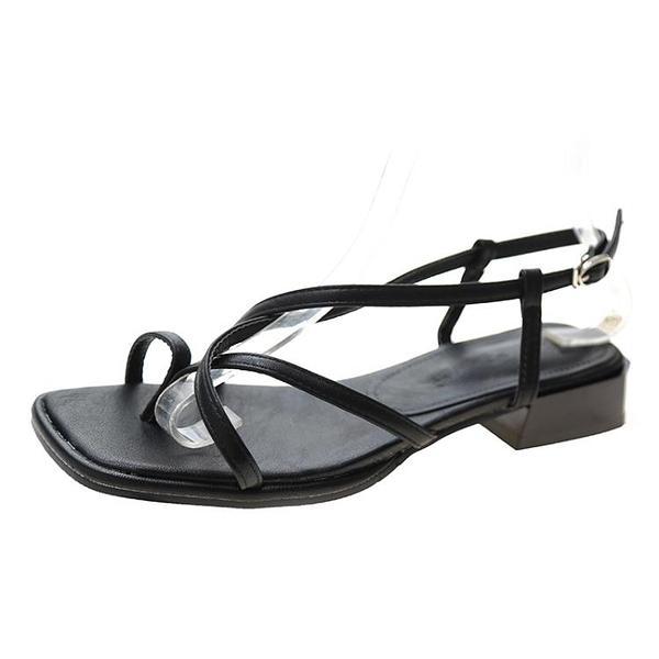 涼鞋女粗跟低跟夾腳趾羅馬女鞋