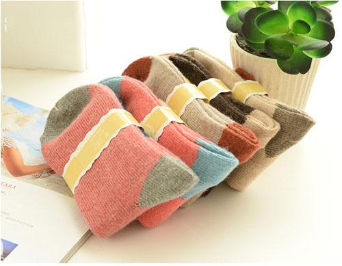 秋冬 拚色保暖羊絨襪 保暖堆堆襪 中筒襪 拼接色保暖襪