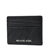 美國正品 MICHAEL KORS 衍縫斜紋皮革名片夾-黑色【現貨】