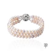 【LECRIN翠屋珠寶】天然珍珠手鍊6.5mm(三串)