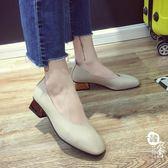英倫風復古方頭奶奶鞋百搭中跟淺口工作鞋【韓衣舍】