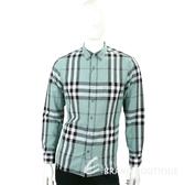 BURBERRY 扣領格紋棉麻混紡長袖襯衫(男款/淺綠色) 1730186-08