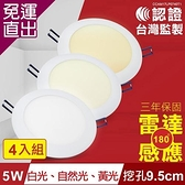 TOYAMA特亞馬 5W超薄LED雷達微波感應崁燈 挖孔尺寸9.5cm 4入組 白光、黃光、自然光任選【免運直出】