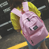 後背包 新款帆布雙肩包學生書包大容量純色多口袋背包電腦包韓版潮男女 芭蕾朵朵