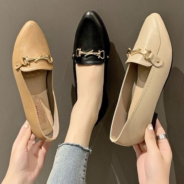 尖頭鞋.MIT知性優雅金屬彎扣樂福平底包鞋.白鳥麗子