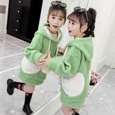 女童連帽T恤 2019新款韓版兒童洋氣中長款加絨加厚保暖連帽上衣 果寶時尚