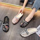 包頭半拖鞋女外穿2019夏季新款可愛ins圓頭娃娃鞋平底少女心涼拖優品匯