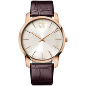 Calvin Klein CK City 極簡經典LOGO手錶-玫瑰金框/43mm K2G21629