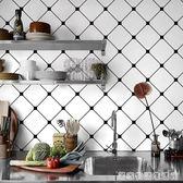 廚房防油貼紙北歐風格牆貼畫簡約黑白格子壁紙耐高溫瓷磚自黏牆紙  居家物語
