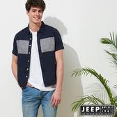 【JEEP】文青造型復古短袖襯衫-深藍