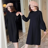 漂亮小媽咪 韓系 質感 洋裝 【D5800】 燈籠袖 泡泡袖 針織 長袖 毛衣 針織 孕婦裝 開叉 洋裝