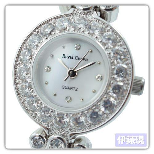 【Royal Crown】瑰翠風華滿晶鑲鑽腕錶 (晶鑽銀)