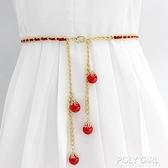 腰鏈女款細珍珠裝飾百搭配連衣裙子腰帶女士韓版時尚金屬皮帶裙帶 喜迎新春