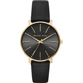 Michael Kors Pyper 紐約時尚手錶-黑x金框/38mm MK2747