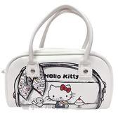 〔小禮堂〕Hello Kitty 皮質手提化妝包《黑白.吃布丁》收納包.筆袋.手提包 4714581-70312