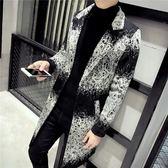 大衣外套 冬季中長款風衣男士韓版修身單排扣花色外套毛呢大衣 萬客居