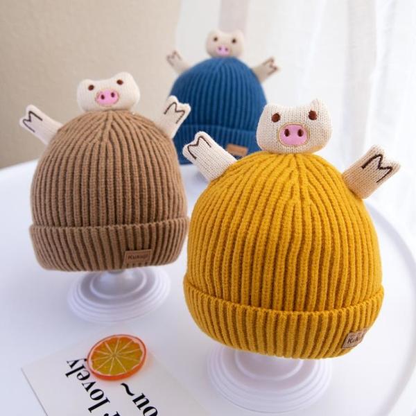 冬天可愛保暖嬰兒帽子冬季卡通超萌寶寶嬰幼兒針織毛線帽男童套頭