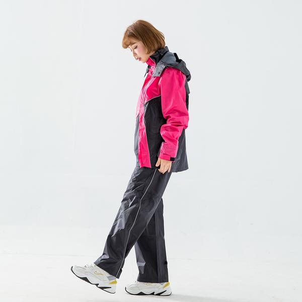 『快速出貨』奧德蒙戶外機能特仕-終結者斜開專利兩件式風雨衣-桃紅