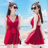泳衣女士保守韓國小胸聚攏大碼遮肚顯瘦連體裙式溫泉游泳衣 莫妮卡小屋