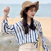 寬鬆上衣 豎條紋襯衫女夏季長袖寬鬆韓版休閒V領喇叭袖襯衣上衣 綠光森林