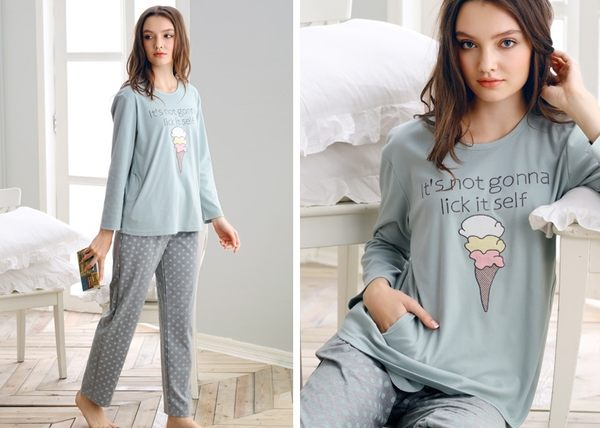 夏季新品純棉睡衣女甜美家居服全棉休閒夏天薄款套裝 -swe0012