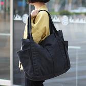帆布單肩包-簡約大容量休閒柔軟女手提包2色73wo2[巴黎精品]