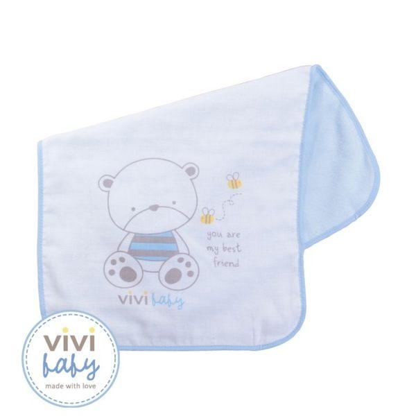 ViVibaby 托比熊雙面澡巾(藍)