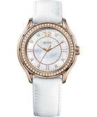 Hugo Boss 美麗翹佳人珍珠晶鑽腕錶-白/玫塊金 H1502265