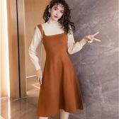 好感針織焦糖色假兩件氣質修身過膝連身裙洋裝[98933-QF]美之札