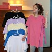 短袖T恤寬鬆短袖女開叉t恤網紅新款中長上衣ins2020夏季潮下衣消失蹤大版 雙11 伊蘿