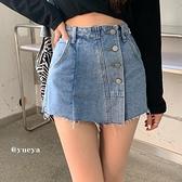 短裙 辣妹牛仔半身裙 女春季2021新款不規則高腰顯瘦褲裙百搭A字短裙